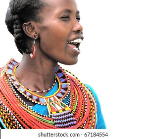 AFRICA,KENYA,SUMBURU - NOVEMBER 8: Portrait of Sumburu  woman wearing traditional handmade accessories,review of daily life of local people,near Sumburu Park National Reserve, November 8, 2008, Kenya