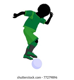 African ameircan male tween soccer player art illustration silhouette on a white background