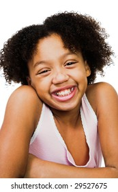 African America girl standing and smiling isolated over white