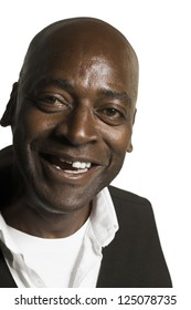 African american bald man smiling on white background