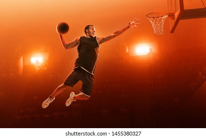 African american basketball player in action on professional sports arena