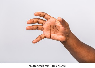African american black man hand hanging something blank isolated on a white background. Close-up.
