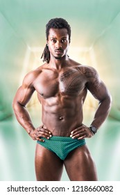 African American bodybuilder man, naked muscular torso, wearing bathing suit only, in futuristic tunnel
