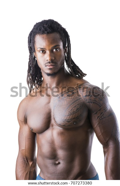 African American Bodybuilder Man, Naked Muscular Torso