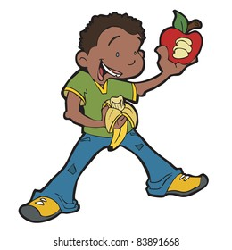 African American boy being healthy by eating fruit, including an apple and a banana.