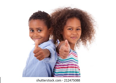 African American boy and girl making thumbs up gesture, isolated on white background - Black people