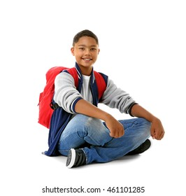 African American boy, isolated on white
