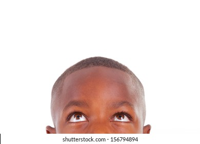 African American boy looking, isolated on white background - Black people