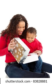 African American Boy Open Christmas Gift Box with Mom
