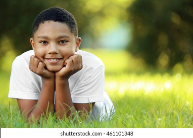 African American boy in park