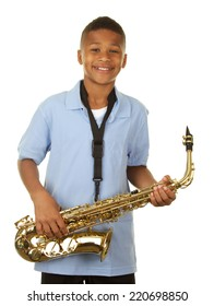 African American boy playing the saxophone on a white background