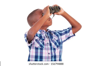 African American boy using binoculars, isolated on white background - Black people