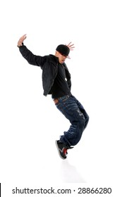 African American breakdancer performing isolated over white background