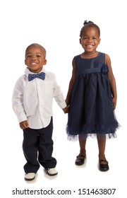 African American Brother and Sister Holding Hands Isolated on White background