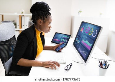 African American Business Data Analyst Woman Using Computer