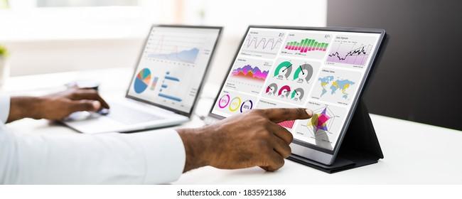 African American Business Man Analyst Using Data Analytics