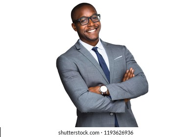 African american business man with fun cheerful smiling laughing candid warm happy expression on white