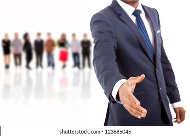 African American business man offering handshake over white background