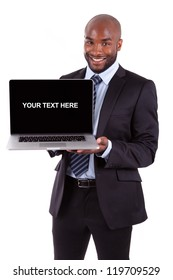 African American business man showing a laptopn screen, isolated on white background