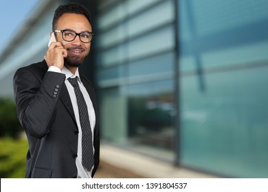 African american business man using mobile phone