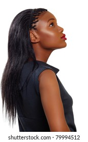 African American business woman looking up in profile over white background