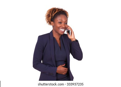 African American business woman making a phone call , isolated on white background