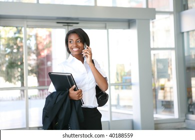 An african american business woman on the cell phone