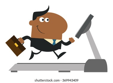 African American Businessman Cartoon Character With Briefcase Running On A Treadmill. Modern Flat Design Raster Illustration Isolated On White