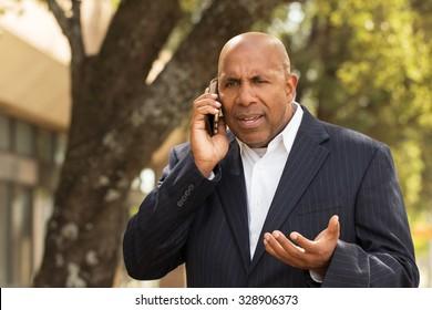 African American businessman having a difficult conversation.