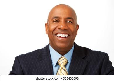 African American businessman smiling.