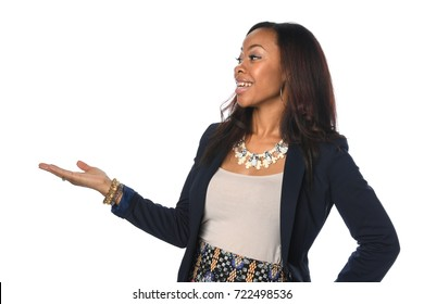African American businesswoman making presentation isolated over white background