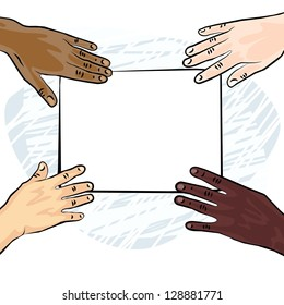 african american caucasian indian human hands holding white blank piece of paper colorful illustration raster version