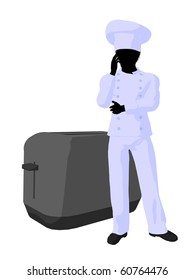 African american chef standing next to a toaster silhouette on a white background