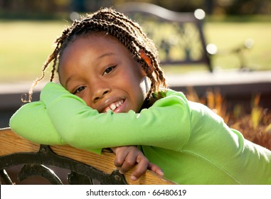 African American child enjoying nice sunny day