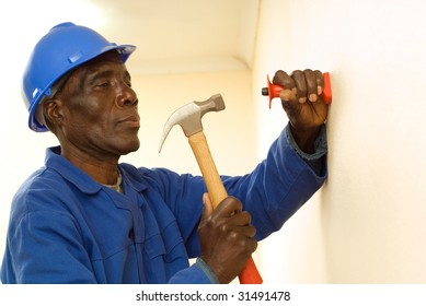 African American Construction Worker, Handyman, Holding Hammer, In Motion