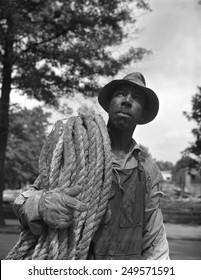 African American construction worker, June 1942. Photo by Gordon Parks.