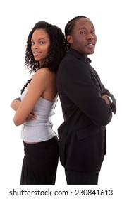 African American couple back to back - Black people, isolated on white background