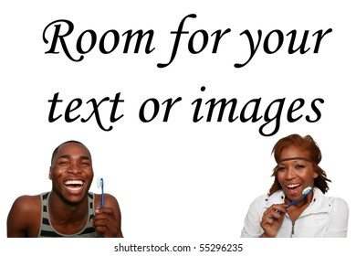 a  african american couple is excited about brushing their teeth,  isolated on white