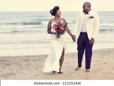 African American couple wedding day