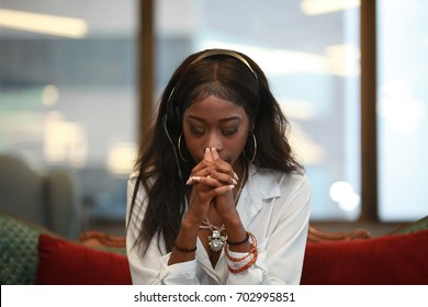 African American customer service girl, praying, headache, black female assistant, depressed support helpdesk agent, microphone sales communication