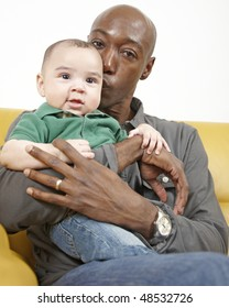 African American dad with his mixed race son