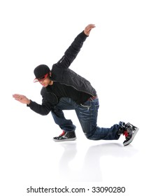 African American dancer performing breakdancing isolated over white