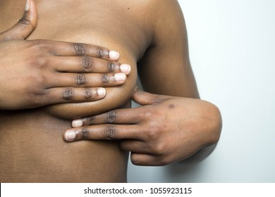 African American Dark skin woman Checking Her Breast, Breast Self-Exam (BSE), How do I check breast concept, Breast Cancer Awareness healthy girl, woman healthy lifestyle medical awareness for lumps