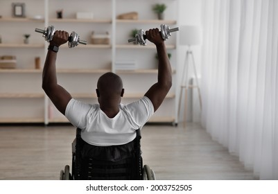 African american disabled man sitting in wheelchair and exercising with equipment at home, fit and workout. Middle aged guy raises dumbbells in minimal living room or rehab interior, back, empty space