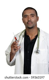 An African American doctor holding a syringe