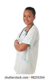 African American doctor nurse black book and stethoscope isolated metisse