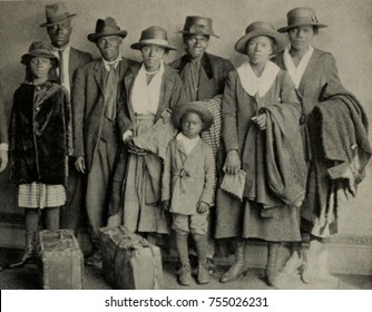 African American extended family arriving in Chicago from the rural South, ca. 1920.