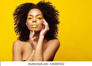 63c34804c343 African American Fahion Model portrait . Brunette young woman with afro  hair style