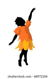 African american fairy girl illustration silhouette on a white background