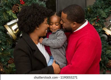 African American Family at Christmas.